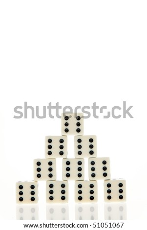 Many die of a game. Six. Happiness and success in the game. - stock photo