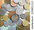 Many different coins and banknotes collection. - stock photo