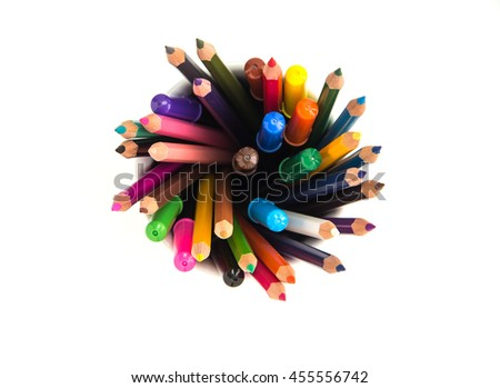 many different colored pencils with isolate white background