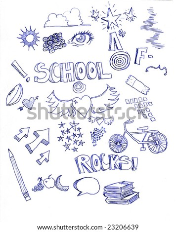 many different doodles with a school theme with letter grades, arrows, pencil, hearts, books, and a bicycle, - stock photo