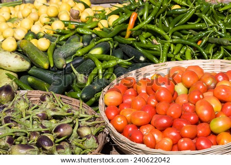 Many different ecological vegetables on market in India - stock photo