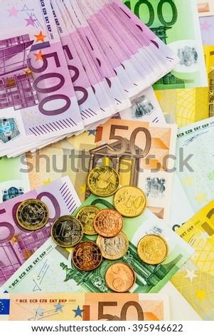 many different euro bills - stock photo
