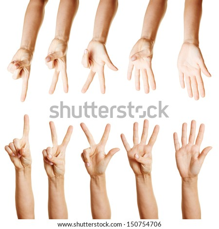 Many different hands counting from one to five with their fingers