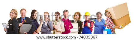 Many different occupations in a happy group team - stock photo