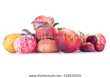 Many different ripe fruits isolated on white background