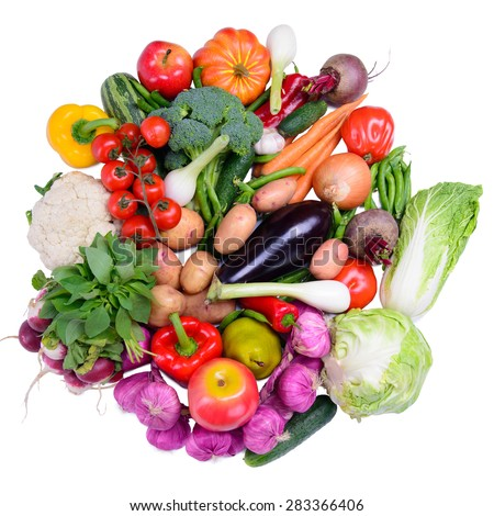 Many different ripe vegetables isolated. large depth of field of the frame - stock photo