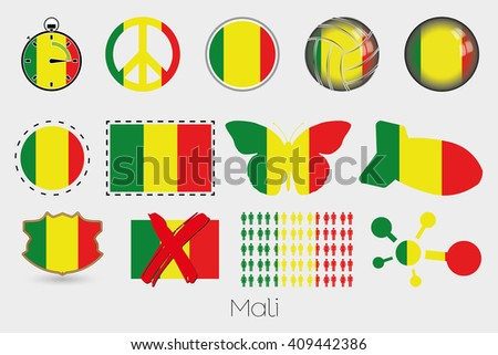 Many Different styles of flag for Mali