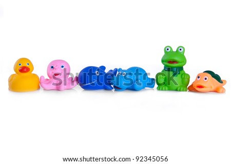 many different toys in the form of rubber animals - stock photo