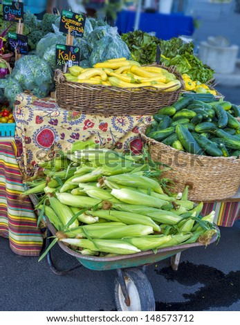 Many different vegetables at the Boise Idaho Farmers Market - stock photo