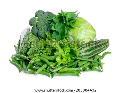 Many different vegetarian vegetables isolated on white background. large depth of field of the frame - stock photo