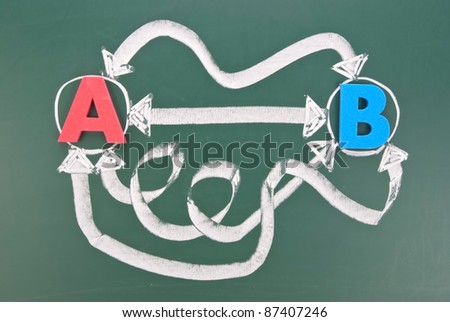 Many different ways to connect two points - stock photo