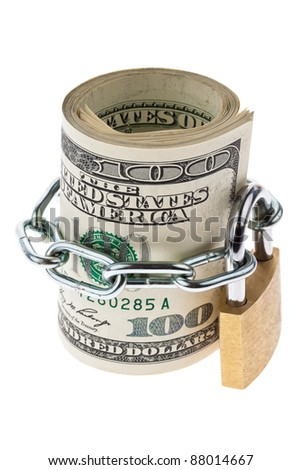 many dollar bills are locked with a lock - stock photo