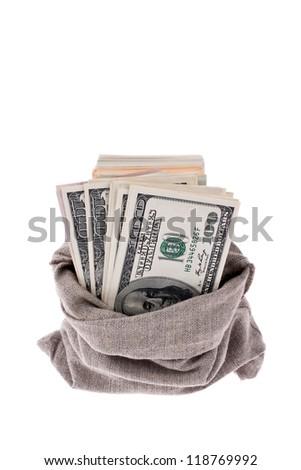 many dollar bills in a sack - stock photo