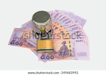 Many 500 dollar locked by safety padlock - stock photo