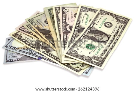 Many dollars banknotes isolated on a white background - stock photo