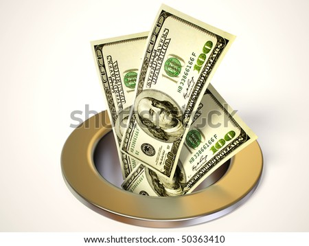 many dollars colapsing go down in hole on white - stock photo