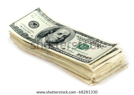 Many dollars on white background