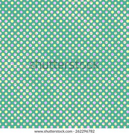 many dots like pastel ball, retro green background - stock photo