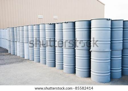 many drums storage on warehouse - stock photo