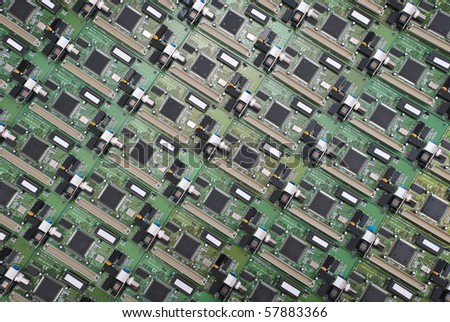 Many electronic circuit board. Electronic background. - stock photo