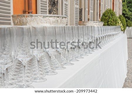 Many empty glasses for party - stock photo
