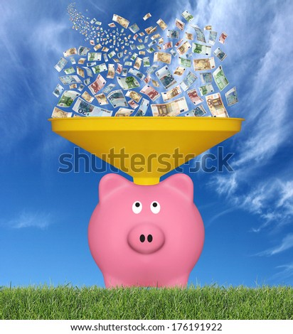 Many euro banknotes falling from the sky in a pink piggy bank - stock photo