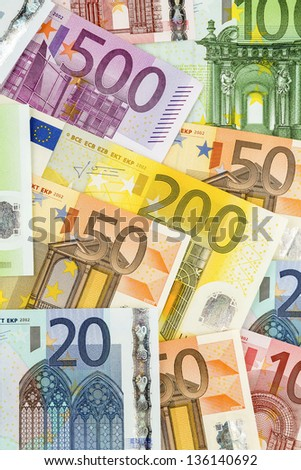 many euro banknotes. symbolic photo for wealth and investment. - stock photo