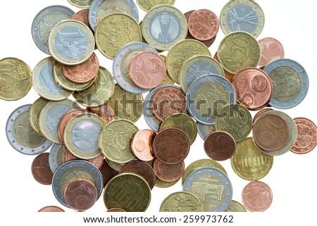 many euro coins / euro money - stock photo
