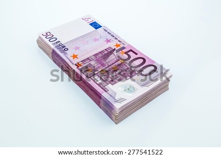 many five hundred euro banknotes. symbolic photo for wealth and investment - stock photo