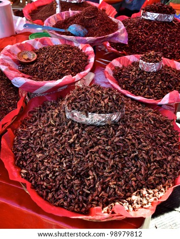 Many flavors of fried grasshoppers at a market in Oaxaca, Mexico