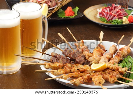 many food and beer - stock photo