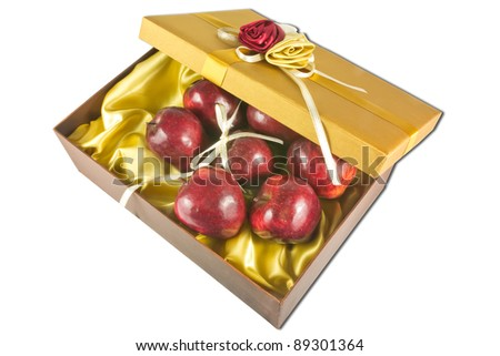 many fresh apples in luxury give box