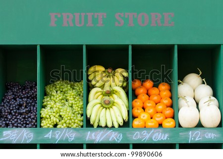 Many Fresh Fruit on Counter - stock photo