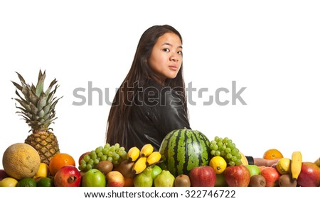 Many fruits stacked together and cute girl