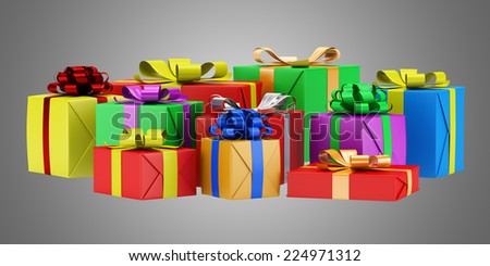 many gift boxes isolated on gray background