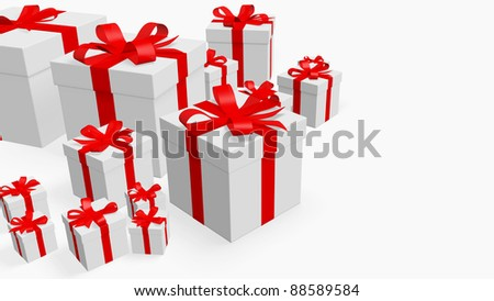 many gift items white and red,   used as background - stock photo