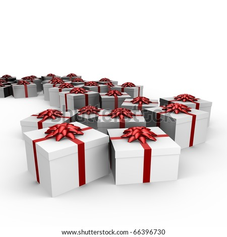 Many gifts with red ribbon - 3d image - stock photo