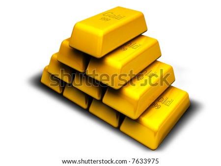 Many gold - stock photo