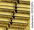 Many Gold Bars As Symbol For Wealth Or Fortune - stock photo
