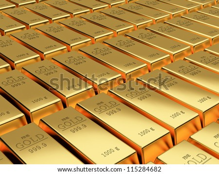 Many Gold bars background - stock photo