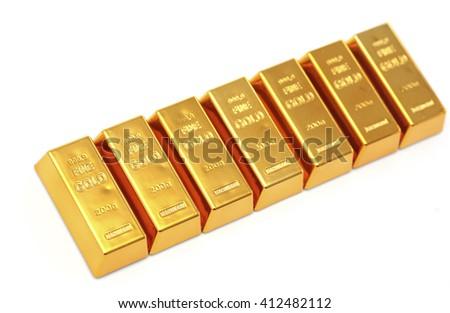 Many gold bars in a row - stock photo