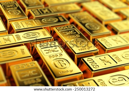 Many gold bars with shallow depth of field. Fictional logo on the gold bars. - stock photo