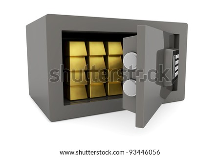 Many gold bullion bars in a small safe