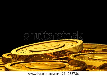 Many golden coins background - with selective focus.