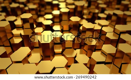Many golden metal hexagons abstract background with focus effect - stock photo