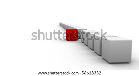 many gray and few red cubes arranged in 3d composition - stock photo