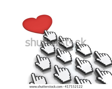 Many hand cursors mouse clicking red heart button or link concept isolated on white background.3D rendering.
