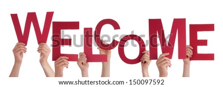 Many Hands Holding a Red Welcome in Their Hands, Isolated - stock photo