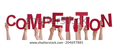 Many Hands Holding Red Word Competition Stock Photo 204697885 ...