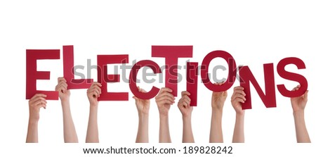Many Hands Holding the Red Word Elections, Isolated - stock photo